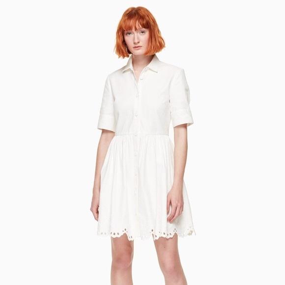 kate spade Dresses & Skirts - Kate Spade Denim Cutwork Dress White